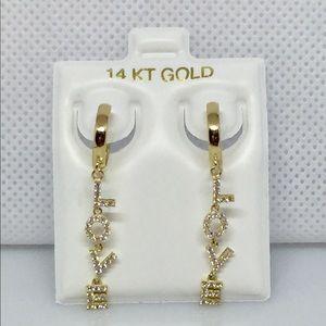 14k solid gold LOVE Huggie hoop earrings